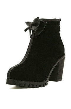 Black Ankle Bow Back Zipped Chunky Heels Short Boots