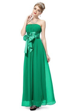 Green Strapless Ruched Bust Chiffon Dress With Bow Sash