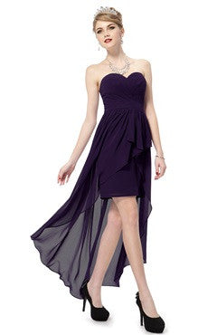 Elegant Purple Strapless Hi-Lo Evening Party Dress