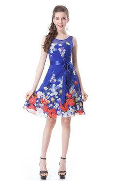 Illusion Neckline Bow Sashes Floral Print Dress