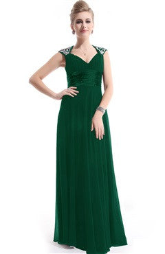 Queen Anne Neck Back Cutout Formal Dress, Green