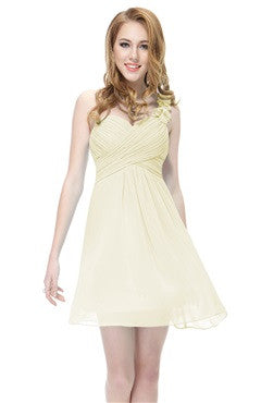 Floral One Shoulder Bandaged Daffodil Bridesmaids Dress
