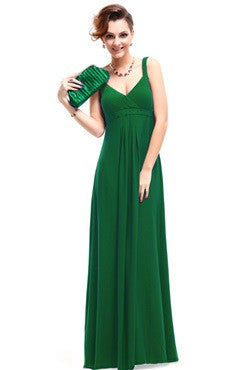 Green V-Neck Ruched Bust Maxi Dress