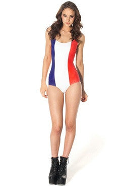 France Print One Piece Swimsuit