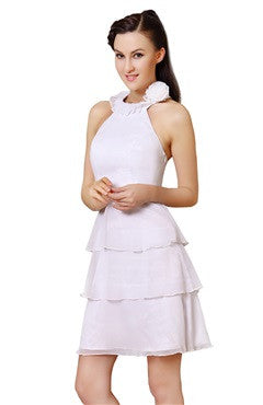 White High Neck Frill Chiffon Dress With Corsage