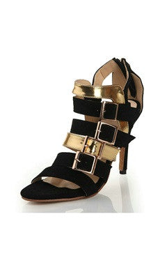 Bi-Colored Multi Strap Open Toe Heeled Sandals