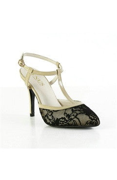 Contrast Lace Closed-Toe Ankle Strap T Bar Heeled Sandals