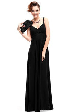 Black V-Neck Ruched Bust Maxi Dress