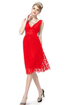 Red Illusion Lace V-Neck Sleeveless Cocktail Dress