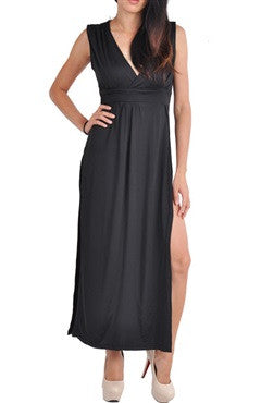 V-Neck Solid Color Side Split Maxi Dress