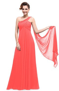 A Line One Shoulder Ruched Bust Streamer Long Evening Dress