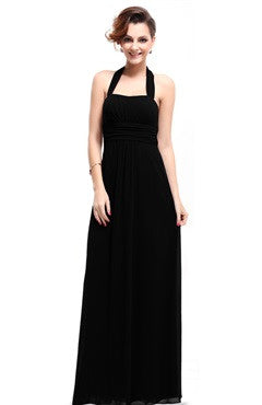 Black Halter Padded Ruched Bust Evening Dress