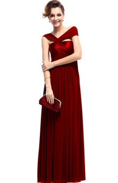 Burgundy Halter Ruched Bust Floor-Length Dress