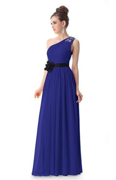 Sapphire Blue Rhinestones Decorated One Shoulder Party Dress