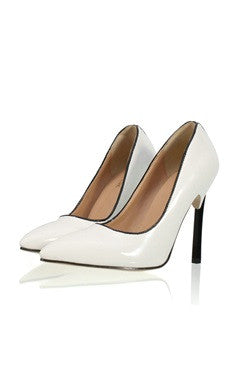 Contrast Stiletto Heel Point Toe Pumps In White
