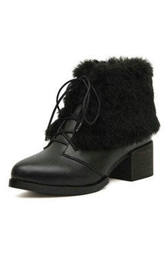 Black PU Fur Lace-Up Ankle Boots