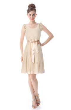 Beige Scoop Neck Flounce Ruched Party Dress With Satin Waistband