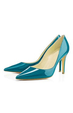 Pointed Patent Leather Heeled Shoes With Contrast Sole