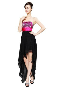 Hi-Lo Sequins Bust Chiffon Dress With Pink Waistband