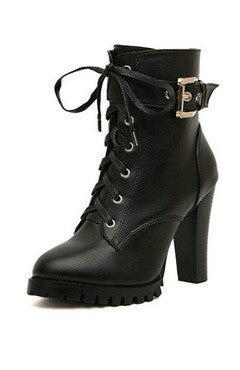 Black Lace-Up Chunky Heels PU Ankle Boots
