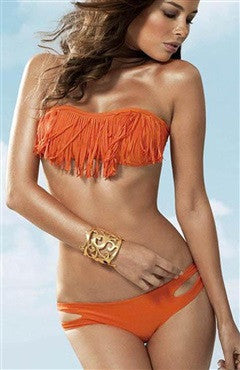 Orange Tanga Bottom Cutouts and Fringe Detailed Bikini Set