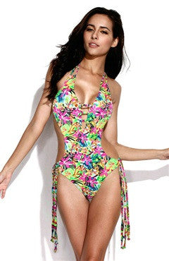 Jungle Print Swimsuit with Front Trio Straps