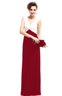 Red V-back Bi-Color Cocktail Dress With Ruched Bust