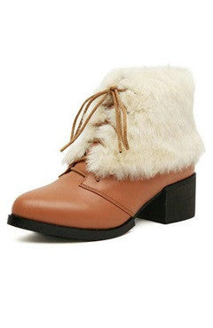 Brown PU White Fur Lace-Up Ankle Boots