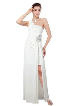 White One Shoulder Ruched Bust Beading Dress With Overskirt
