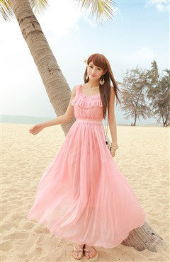 Pink Solid Color Scoop Ruffles Maxi Dress