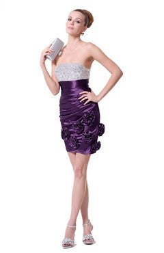 Wrapping Strapless Purple Petal Evening Dress