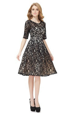 Knee Length Black Lace Vintage Dress