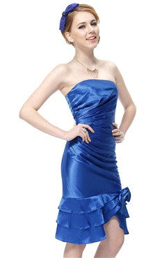 Fashion Blue Satin Ruched Floral Ruffles Cocktail Dress