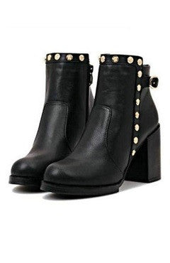 Black PU Leather Rivet Ankle Boots