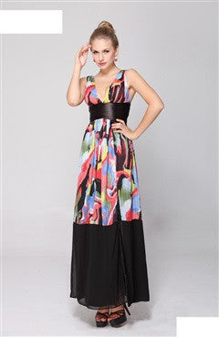 Deep Double V Neck Colorful Printed Pleated Slit Party Dress