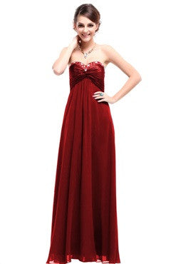 Red Sweetheart Jeweled Neck Ruched Bust Chiffon Dress