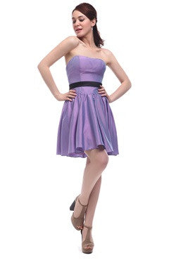 Iridescent Taffeta Strapless Dress With Contrast Belt