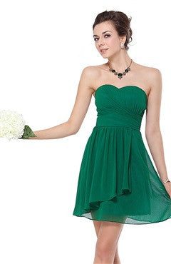 Sweetheart Green Ruffles Short Chiffon Bridesmaid Dress
