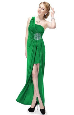 Green One Shoulder Ruched Bust Beading Dress With Overskirt