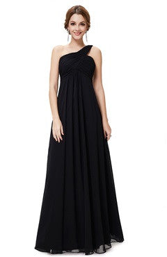 Black A Line One Shoulder Streamer Long Evening Dress
