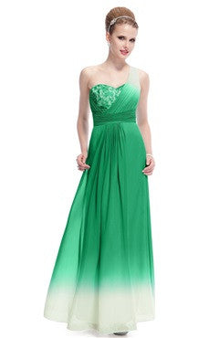 Faded Ruching One Shoulder Prom Dress