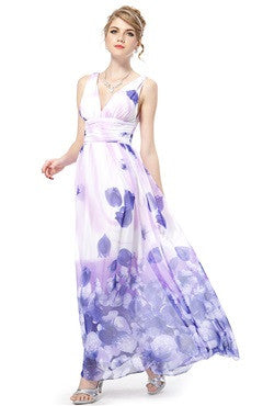 Floral Print Deep V Neck Chiffon Dress