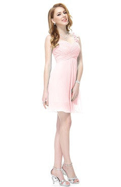 Floral One Shoulder Bandaged Blush Bridesmaids Dress