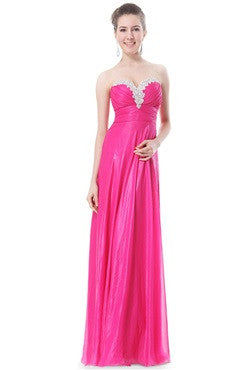 Hot Pink Rhinestone Sweetheart Neckline Long Party Dress