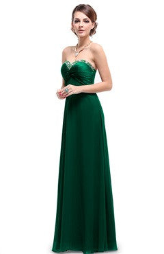 Green Sweetheart Jeweled Neck Ruched Bust Chiffon Dress