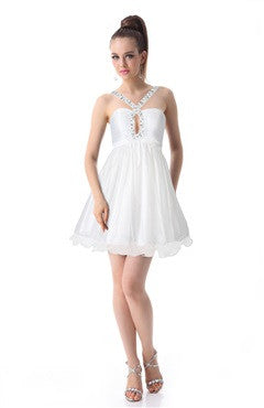 Jewel Neckline Drilled Bubble White Homecoming Dress