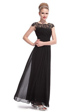 Black Lacey Neckline Back Cutout Ruched Bust Evening Dress