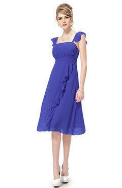 Sapphire Blue Flounce Shoulder Ruched Bust Ruffled Calf-Length Cocktail Dress