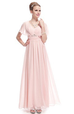 Elegant Pink Capelet Rhinestones Detailed Ruched Party Dress