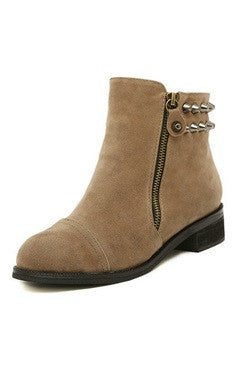 Light Brown Rivet Zipper Detailed Low Heels Boots